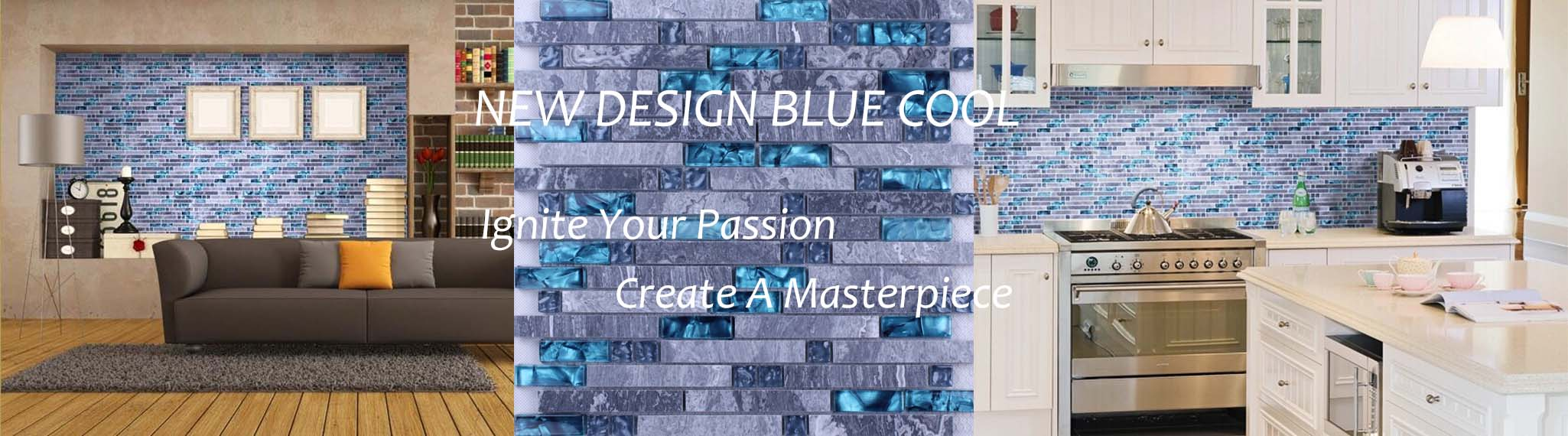 blue glass gray marble stone tile