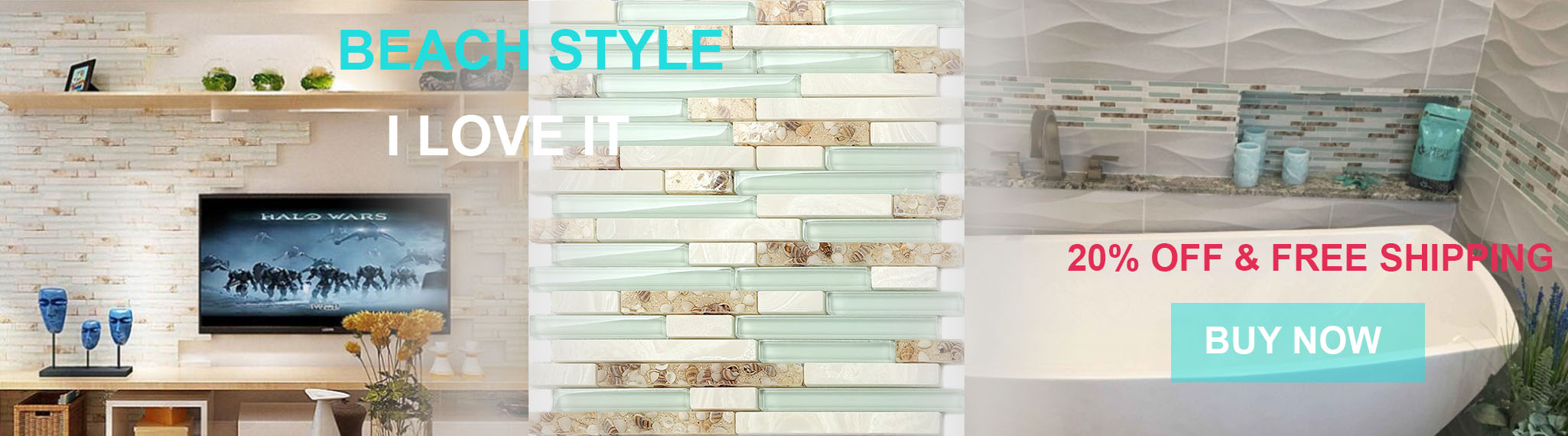 Sea Green Glass Stone Backsplash Tile Beach Style Resin Conch