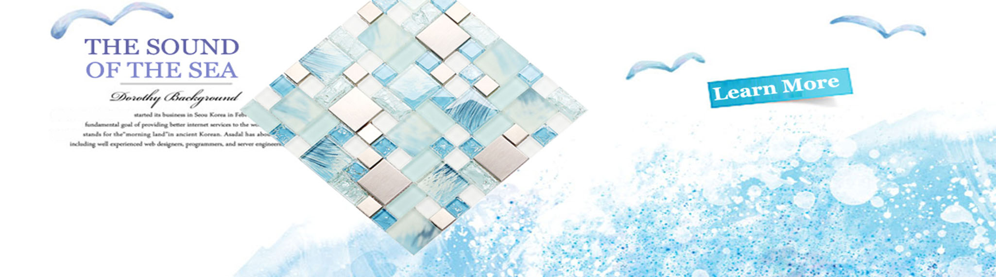 Cyan Glass Tile Silver Stainless Steel Crystal Backsplash