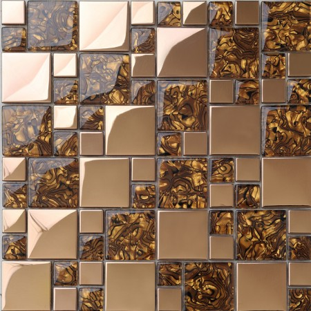 Gold Stainless Steel Tile with Base Wall Tiles Backsplash Metal and Glass Blend Mosaic Amber Pattern