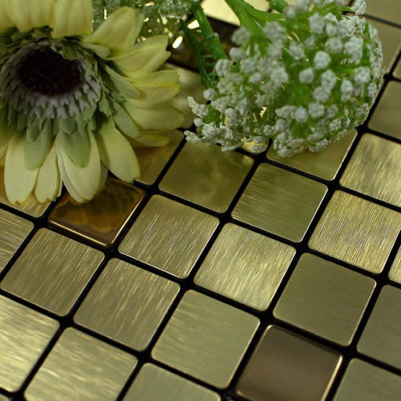 Metal Tile Backsplash Kitchen Gold Stainless Steel Tiles ...