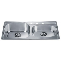 Kitchen Sink 304 Stainless Steel Chrome Nickel Double Bowl with Faucet Holes Small Bowl on Right