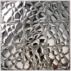 Metallic Mosaic Tile Silver Square Aluinum Metal Wall Decoration Dining Room Stainless Steel Backsplash 6707