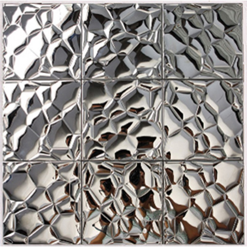 Metallic Mosaic Tile Silver Square Aluinum Metal Wall Decoration ...