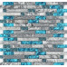 Gray and Teal Backsplash Tile, Striped Marble & Glass Mosaic for Kitchen, Bathroom and Shower Walls