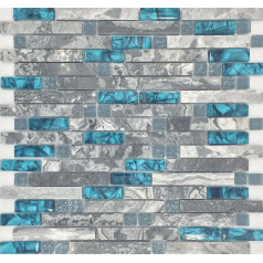 Gray Marble Backsplash Tile Teal Blue Glass Mosaic Random Interlocking Bathroom Wall Tiles
