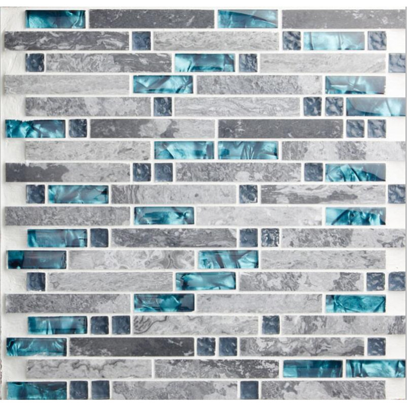 Gray marble backsplash tiles sea glass blue wave patterns nature stone for Glass mosaic tile backsplash bathroom