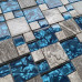Gray and Teal Backsplash Tile, Mixed Marble & Glass Mosaic for Kitchen, Bathroom and Shower Walls