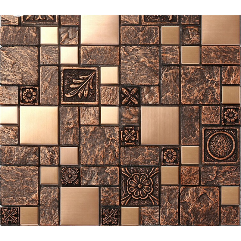 Wholesale Brown Porcelain Stainless Steel Tiles Art Wall
