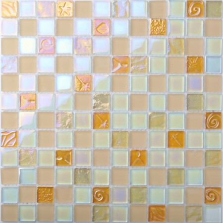Iridescent Glass Tile Mosaic Pink Back Splash Bathroom Shower Wall Tiles 3D Carve Flower Patterns