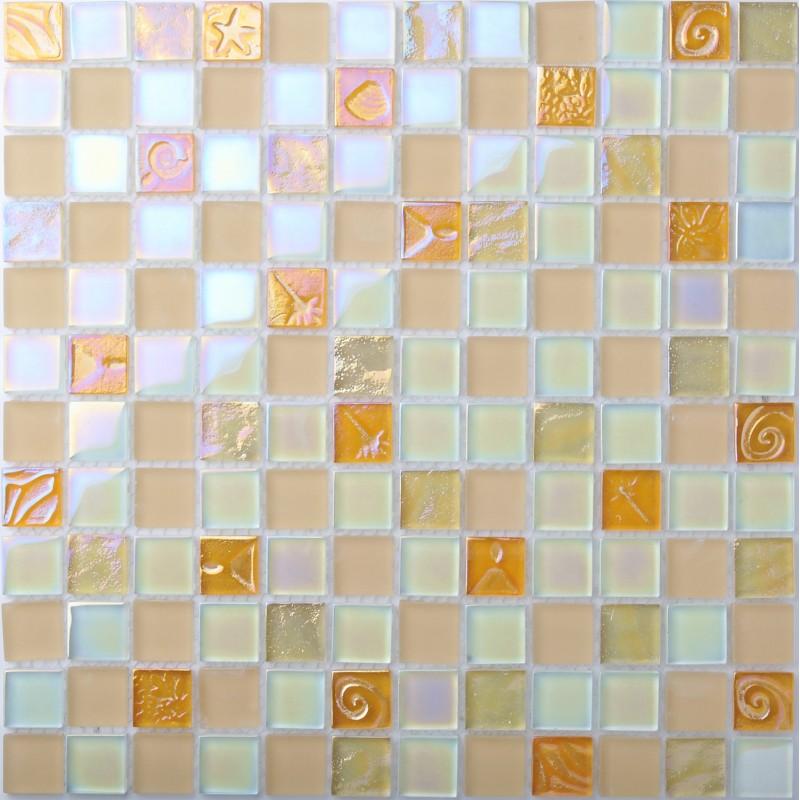 Iridescent Glass Tile Mosaic Pink Back Splash Bathroom