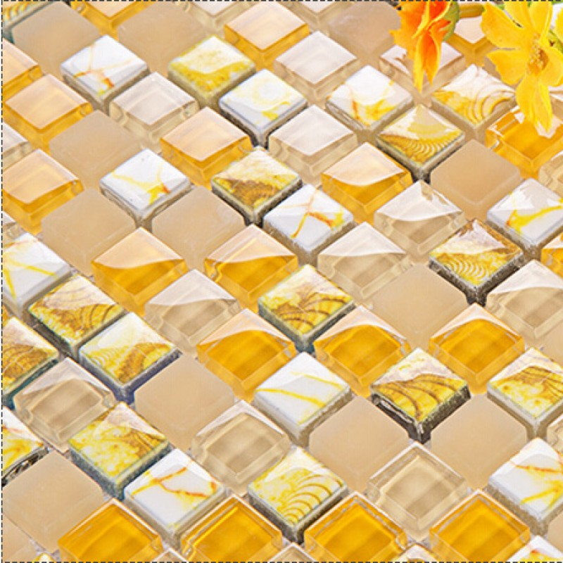 Yellow Tiles For Kitchen: Yellow Glass Mosaic Tile Forsted Glass Hand Painted Art