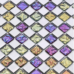 Multi-Colored Crystal Mosaic Squares Silver Coated Glass Tile Backsplash Bathroom Wall Tiles