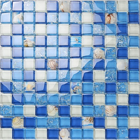 sea blue crystal glass tile crackle wall tile backsplshes bathroom resin with conch bathroom shower tiles designs KLGT18