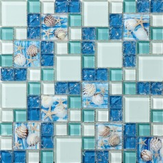 Sea Blue Glass Shell Resin Chips Beach Style Green Aqua Crackle Crystal Mosaic Wall Decor