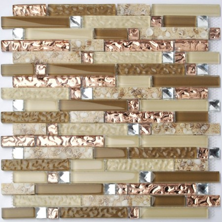 Crystal Glass Diamond Mosaic Resin Conch Tile Rose Gold Wave Backsplash Brown and Beige Tiles