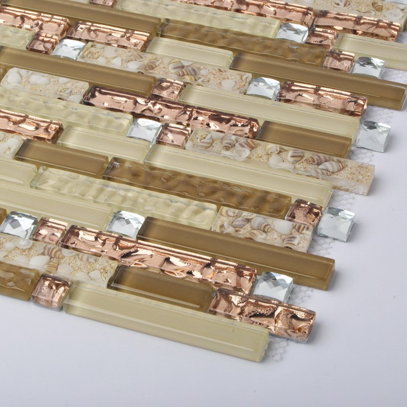 Crystal Glass Diamond Mosaic Resin Conch Tile Rose Gold