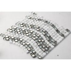 Cream Stone and Glass Mosaic Tile Wave Glass Marble Tile Backsplash Plated Wall Mosaics Floor Tiles GS001