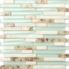 Glass Mosaic Tiles Green Crystal Resin Shell Conch Tile White Stone Tiled Bathroom Wall Backsplash