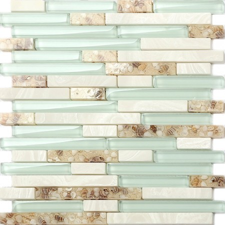 Sea Green Glass Coastal Kitchen Backsplash Beach House Style Bathroom White Stone & Resin Conch Tile