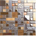 Antique Backsplash Tile in Brushed Aluminum Mix Glass Mosaic for Bathroom and Accent Walls