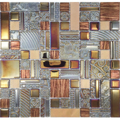 crystal glass mosaic kitchen tile copper aluminum tiles wall backsplash bathroom metal tile decor KLJH401