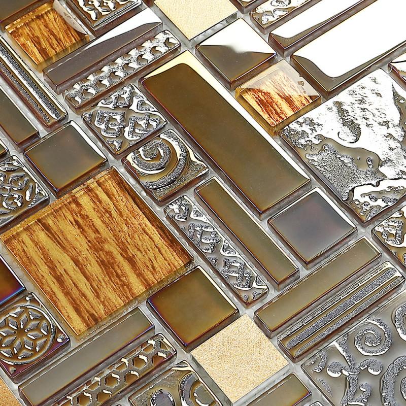 Antique Backsplash Tile Brushed Aluminum Mix Glass Mosaic ...