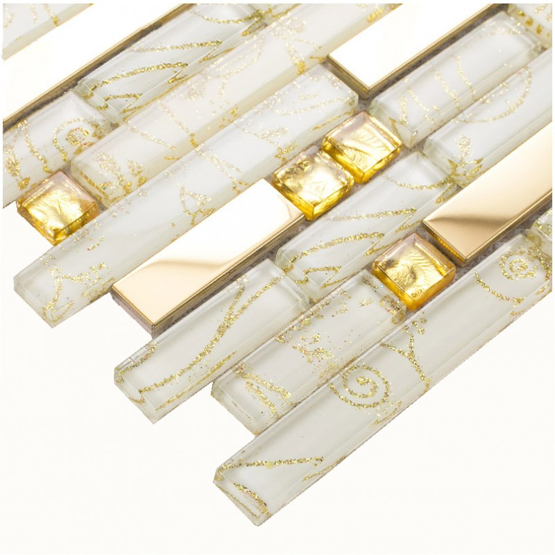 Crystal Glass Tiles Gold Stainless Steel Tile Kitchen Wall