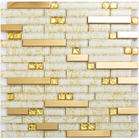 crystal glass tiles gold stainless steel tile kitchen wall backsplash interlocking tile diamond mosaic