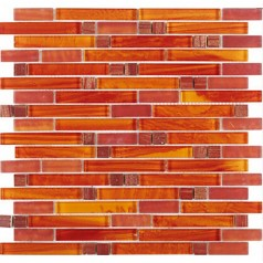 Crystal Glass Red Orange Mosaic Interlocking Tile Backsplash Iridescent Bathroom Wall Tiles Cheap