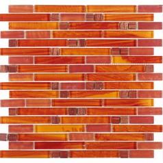 Crystal Glass Red Orange Mosaic Interlocking Tile Backsplash Iridescent Bathroom Wall Tiles Cheap