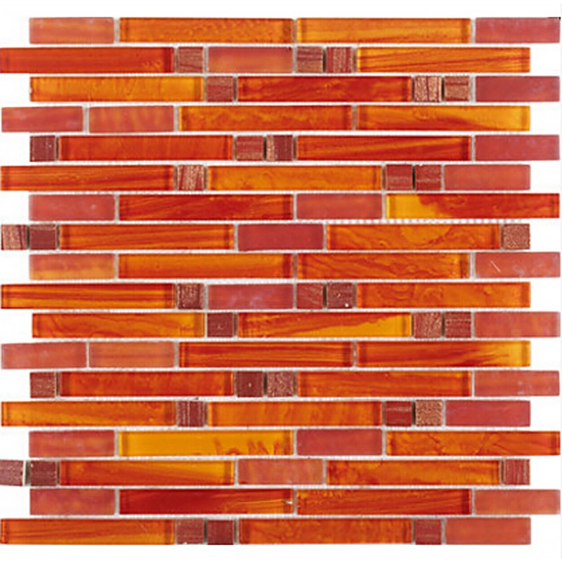 Crystal Glass Red Orange Mosaic Interlocking Tile