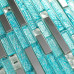 Blue Glass Tile Silver Stainless Steel Crystal Backsplash Diamond-Shaped Mosaic Bathroom Wall Tiles
