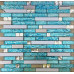 Cyan Glass Tile Silver Stainless Steel Crystal Backsplash Diamond-Shaped Mosaic Bathroom Wall Tiles