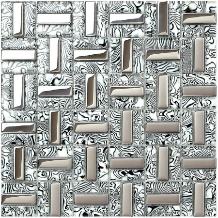 crystal glass tiles plated silver glass tile kitchen wall backsplash strip mosaic tile