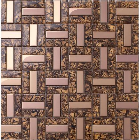 crystal glass tiles plated rose gold glass tile kitchen wall backsplash mosaic tile leopard pattern