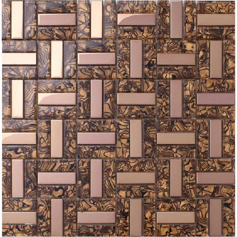 Crystal Glass Tiles Plated Rose Gold Glass Tile Kitchen Backsplash