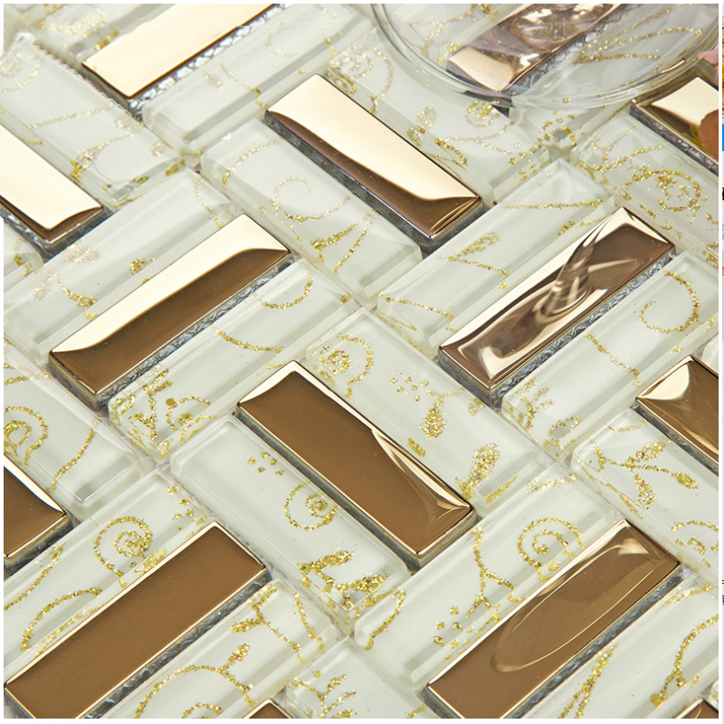 Crystal Glass Tiles Gold Plated Glass Tile Kitchen Wall