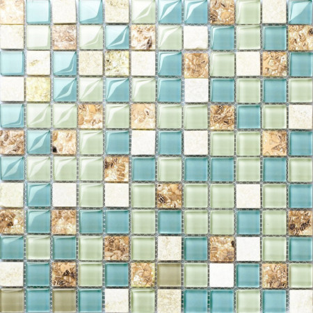 Blue Green Glass and White Stone Mosaic Resin Conch Tile Beach Inspired Backsplash Coastal Bathrooms