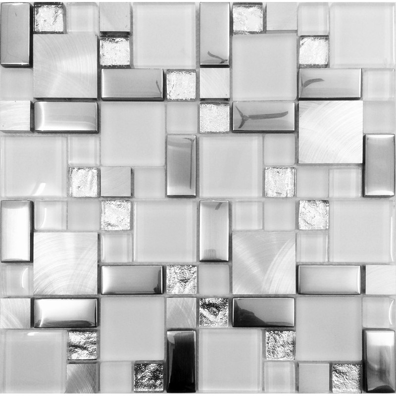 Backsplash Tile Brushed Aluminum Tiles Silver Metal and Glass Mosaic ...