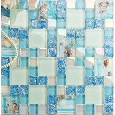 Teal Beach Glass Tile Bathroom Conch and Shell within Resin Crackle Crystal Backsplash Mosaic