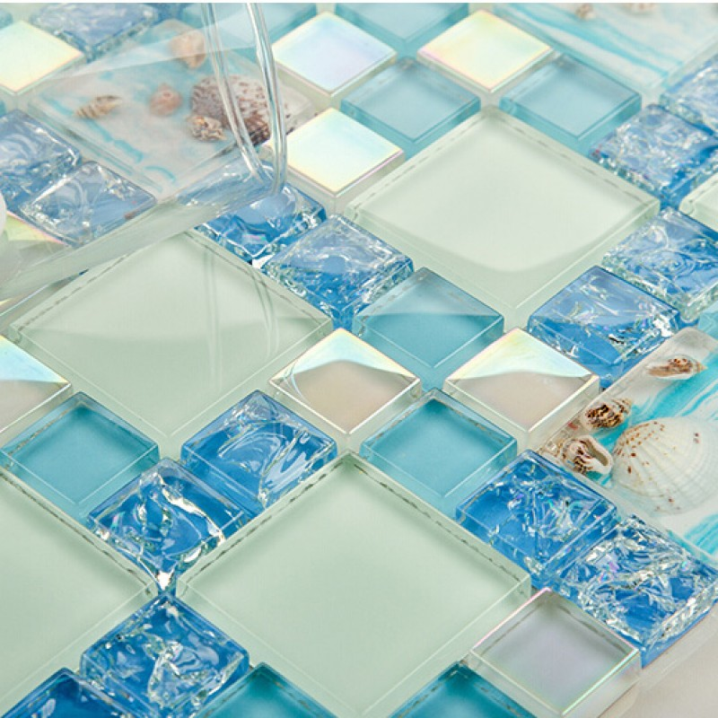 Green crackle glass mosaic tile wall backspashes hand for Back painted glass tile