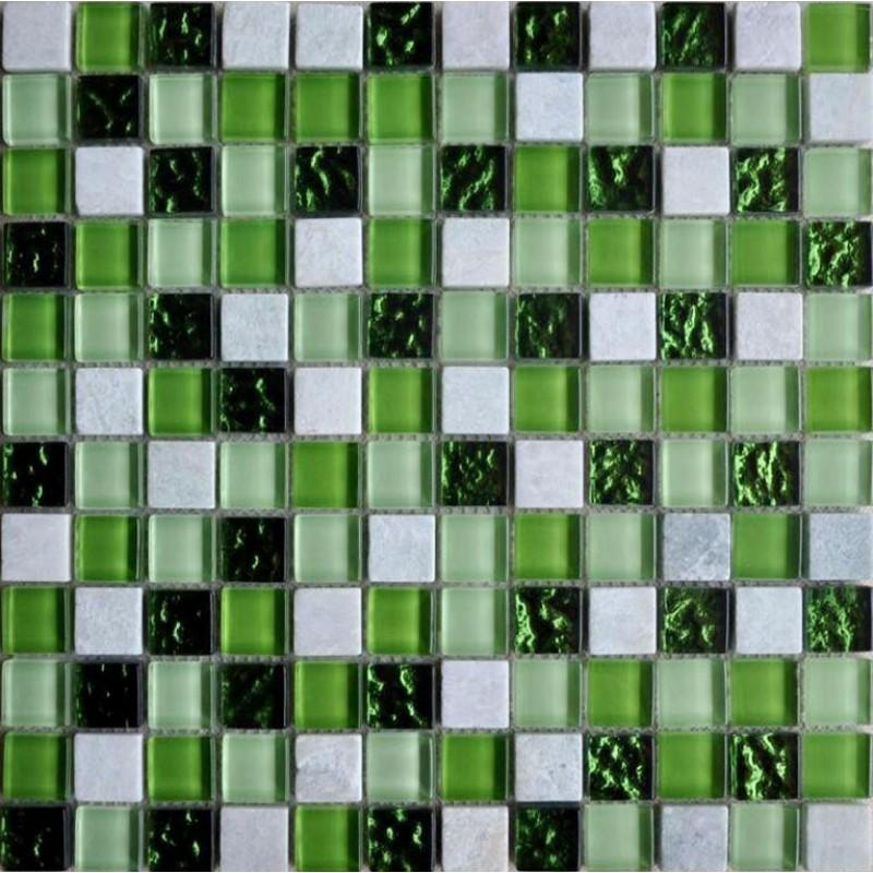 Green Glass Tile Bathroom: Stone And Glass Mosaic Tiles Square Green Bathroom Glass