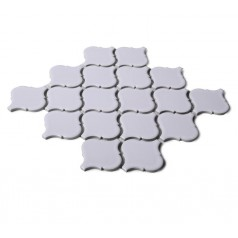 Shiny White Porcelain Mosaic Tile Lantern Baking Bricks Waterjet Tiles Kitchen Backsplash HCHT008