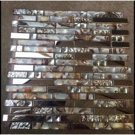 Crystal Glass Mosaic Tiles Stainless steel Backsplash Bathroom Mirror Diamond Wall Design LZMT001