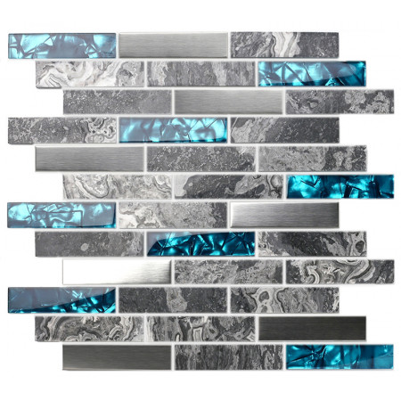 Gray Marble Backsplash Tile Teal Blue Glass Mosaic Interlocking 304 brush stainless steel kitchen