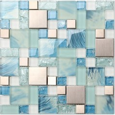 Crackle Glass Backsplash Tile 304 Stainless Steel Metal Tiles Blue Hand Painted Frosted Glass Mosaic Wall Tile New Design Decor MH10
