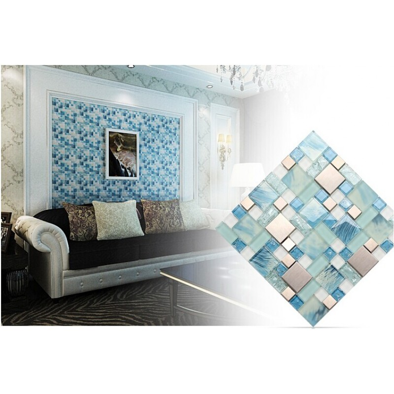 Crackle Glass Backsplash Tile 304 Stainless Steel Metal Tiles Blue Hand  Painted Frosted Glass Mosaic Wall Tile ...