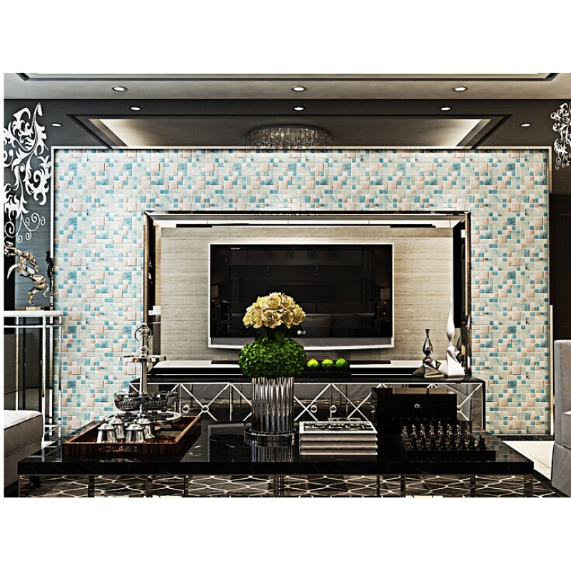 crackle glass backsplash tile 304 stainless steel metal tiles blue hand painted frosted glass mosaic wall tile new design decor mh10 - Metal Tile Living Room Decor