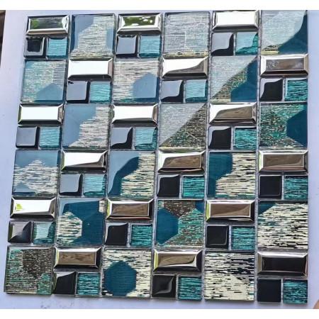 12x12 Glass Backsplash Tile Blue/Silve/Black Bathroom Shower Wall Tiles